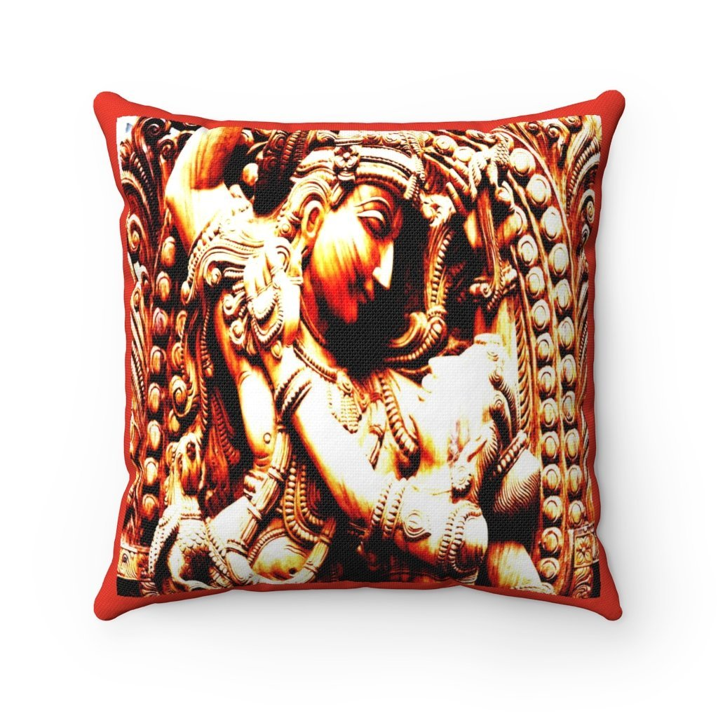 Spun Polyester Square Pillow - Sacred Temples of Ancient India - Yunque Store