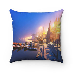 Spun Polyester Square Pillow - Sacred Temples of Ancient India - Benares - Yunque Store