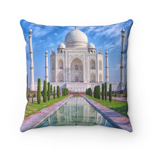 Spun Polyester Square Pillow - Sacred Temples of Ancient India - the AWESOME Taj Mahal - Yunque Store