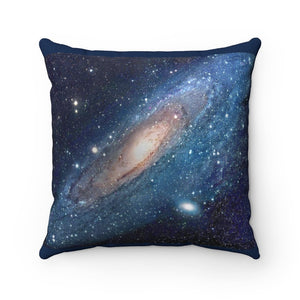 Spun Polyester Square Pillow - The Andromeda galaxy - closest to the Earth at 2.5 million light-years - NASA image - Yunque Store