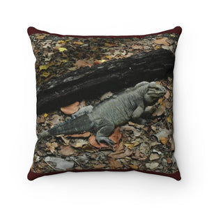 Spun Polyester Square Pillow - The Native Iguana of Mona Island - Puerto Rico - Yunque Store