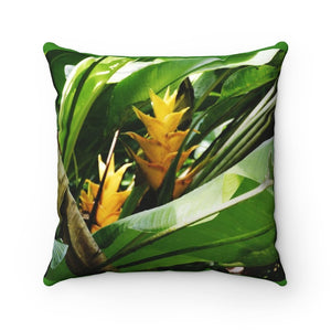 Spun Polyester Square Pillow - Tropical Heliconia flowers in Rio Sabana exploration 9-2019 - Yunque Store