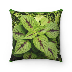 Spun Polyester Square Pillow - Verguenza plant in Rio Sabana exploration 9-2019 - Yunque Store