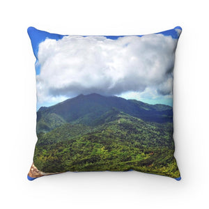 Spun Polyester Square Pillow - Views of El Yunque rain forest Puerto Rico - Yunque Store