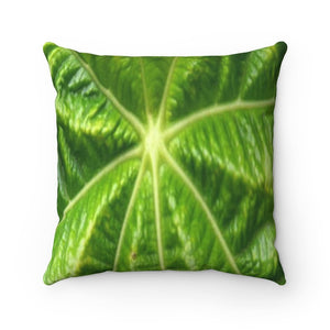 Spun Polyester Square Pillow - Young Yagrumo Leaf - Rio Sabana trail - El Yunque rainforest PR - Yunque Store