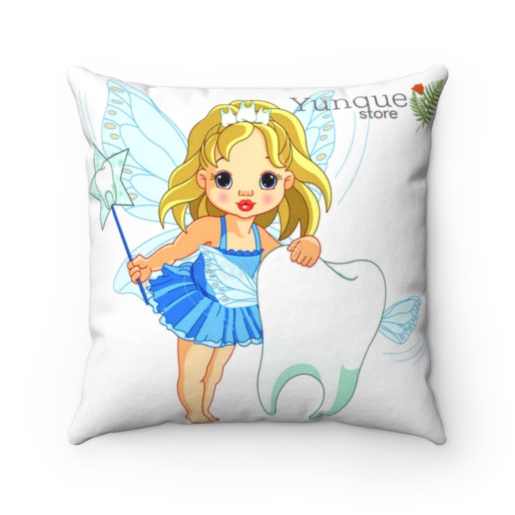Spun Polyester Square Tooth Fairy Pillow - Flower on back: YES I Believe in Tooth Fairy's and children too, tooth pillow personalized - Yunque Store