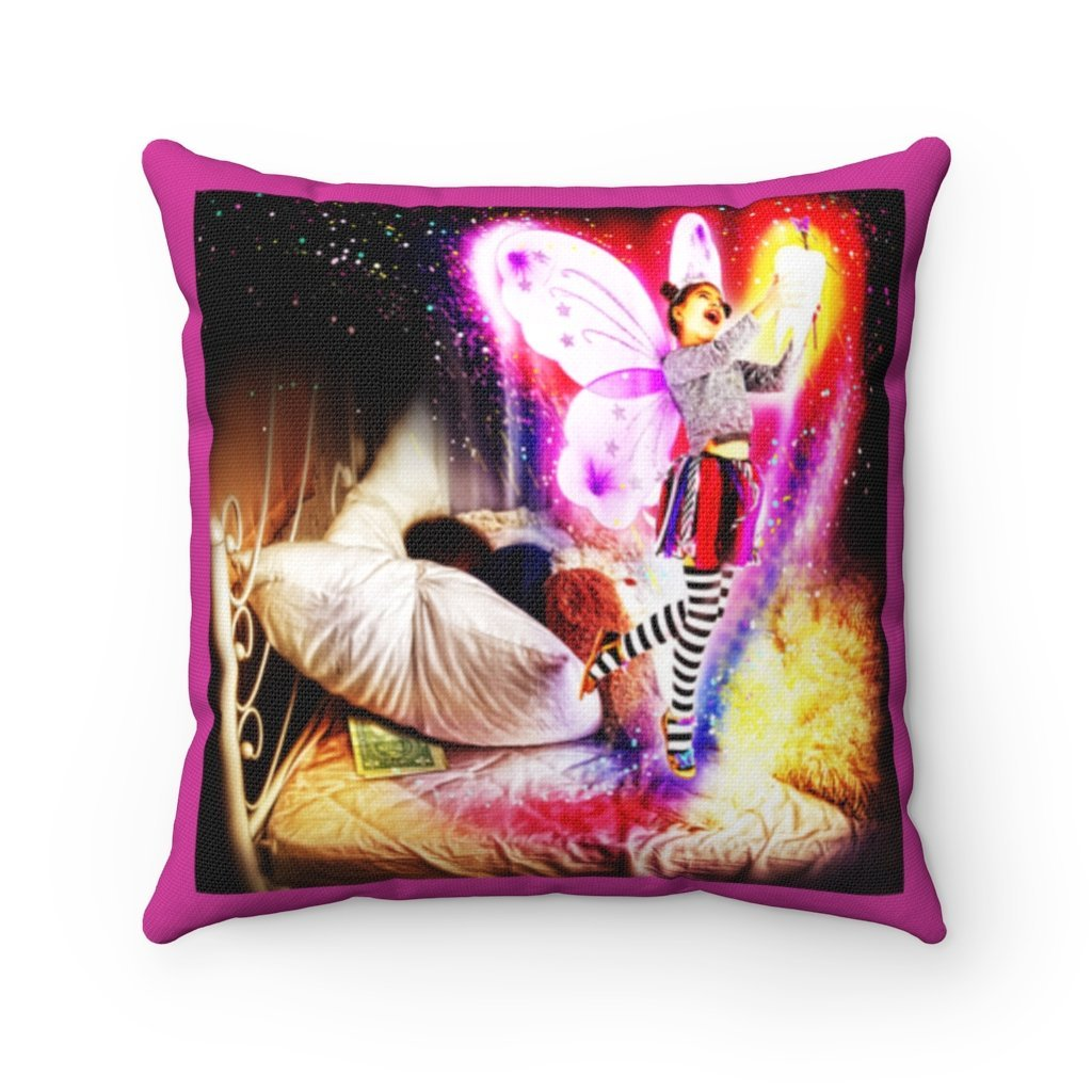 Spun Polyester Square Tooth Fairy Pillow - Flowers back: YES I Believe in Tooth Fairy's and children too, tooth pillow personalized - Yunque Store