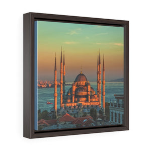Square Framed Premium Canvas -  Blue mosque Istanbul, Turkey - Yunque Store