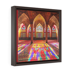 Square Framed Premium Canvas - Nasir Al-Mulk Mosque in Shiraz, Iran - Islam - Yunque Store