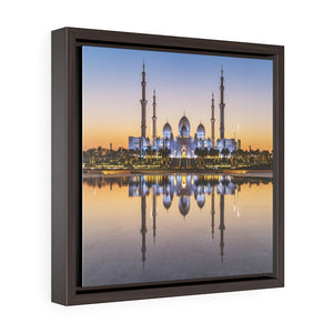 Square Framed Premium Canvas - Shikh Zayed Grand mosque in Abu Dhabi - UAE - Yunque Store