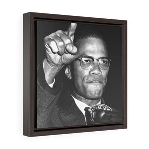 Square Framed Premium Gallery Wrap Canvas - In Homage to Malcom X - Yunque Store