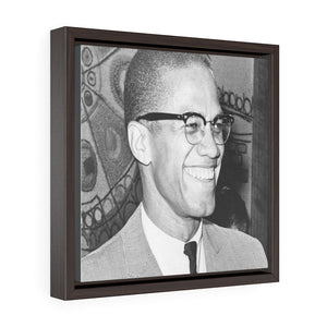 Square Framed Premium Gallery Wrap Canvas - In Homage to the revolutionary Malcom X - Yunque Store