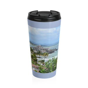Stainless Steel Travel Mug - Rocky Coast - Palmas de Mar Housing complex - Puerto Rico - Yunque Store