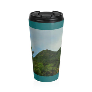 Stainless Steel Travel Mug - View of Mt Britton - El Yunque rain forest PR - Yunque Store
