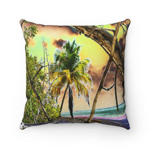 SUPER Spun Polyester Square Pillow - Remote & Pristine Mona Island near Puerto Rico - color curves manually modified for special effects - US MADE - Yunque Store