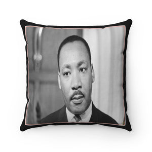 Supporting BLM - Spun Polyester Square Pillow Case - USA Made - Dr. Martin Luther King - Yunque Store
