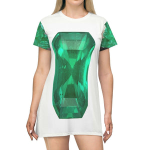T-shirt Dress - Awesome Emerald Jewel on front/back and crystal on sides - the mineral of HOPE! All Over Prints Printify