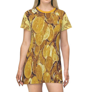 T-shirt Dress - real 24K Gold coins and Lakhshimi Goddes of wealth and luck on sides All Over Prints Printify