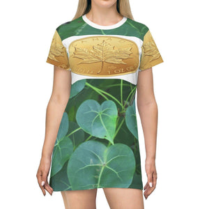 T-shirt Dress - real 24K Gold coins on all sides from CANADA maple symbols All Over Prints Printify
