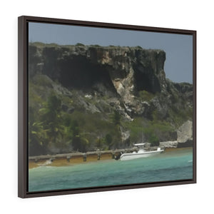 Telephoto - Horizontal Framed Premium Gallery Wrap Canvas -- Remote & Pristine Mona Island near Puerto Rico - MONAS small pier and plateau with caves - US PRINT - Yunque Store