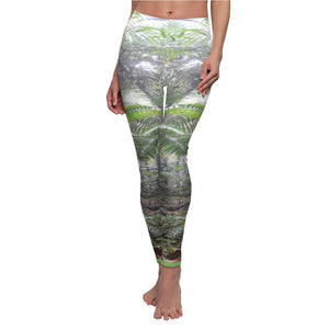 The Cloud Forest - Women's Cut & Sew Casual Leggings - Symmetric images from the El Yunque rainforest clould forest at 3K feet Puerto Rico - Yunque Store
