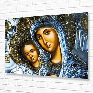 The Virgin Mary baby Jesus from the Icon Russian Orthodox school - image in metal a perfect fit for a wall metallic plate! - Yunque Store