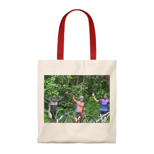 Tote Bag - Vintage - Brave cyclists that just went up to Rio Sabana park - El Yunque rain forest PR Bags Printify