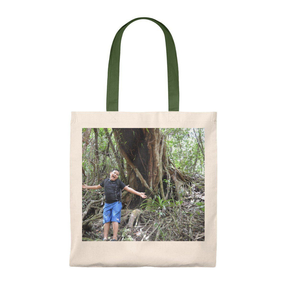Tote Bag - Vintage - Explorer Jose in front of ancient Colorado Tree - El Yunque rain forest PR Bags Printify
