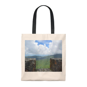 Tote Bag - Vintage - View from 3K feet alt. in Mt Britton tower - El Yunque rain forest PR Bags Printify