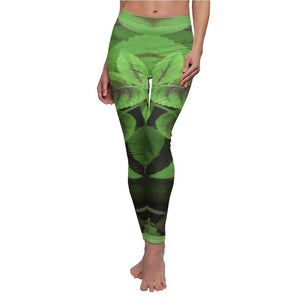 Tropical Plants - Women's Cut & Sew Casual Leggings - Symmetric images from the El Yunque rainforest Verbena plant leaves Puerto Rico - Yunque Store