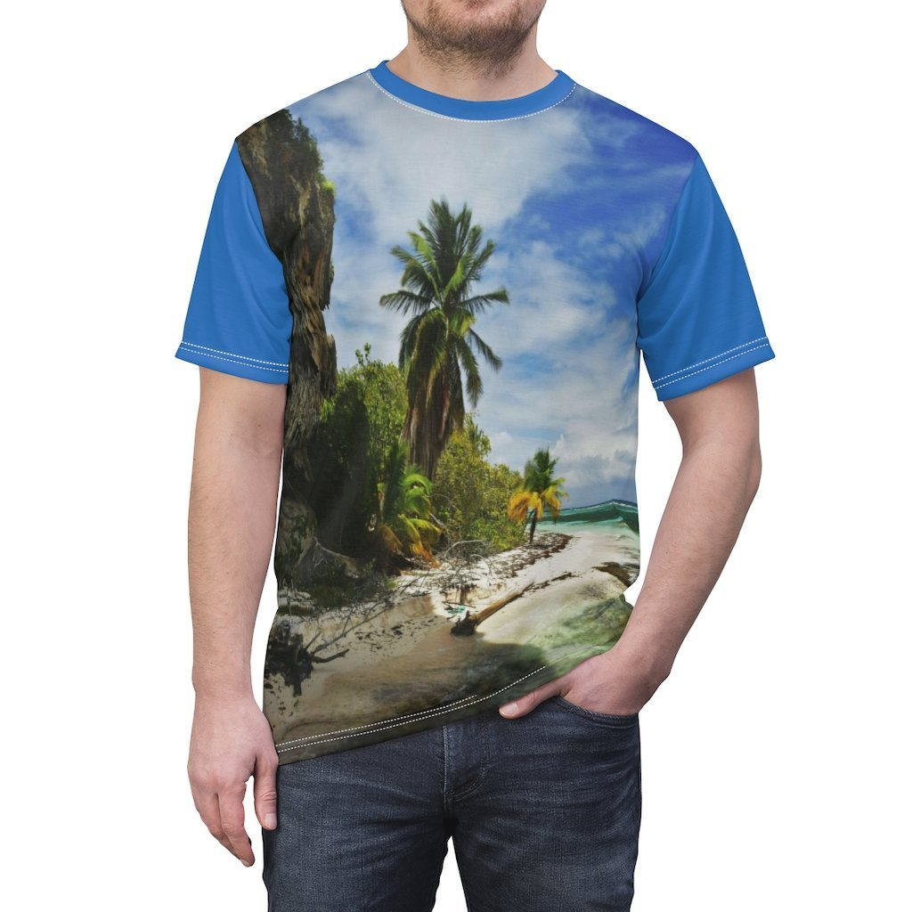 UNIQUE DEAL - BELLO PR UNISEX AOP Cut & Sew Tee - Awesome Pajaros Beach next to cave in Mona Island - Puerto Rico - Yunque Store