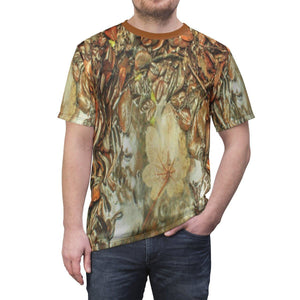 Unisex AOP Cut & Sew Tee - Amazing finding - in 14km Tradewinds trail - Dry Yagrumo leaf (white side) on the ground after a rain - El Yunque rainforest PR All Over Prints Printify