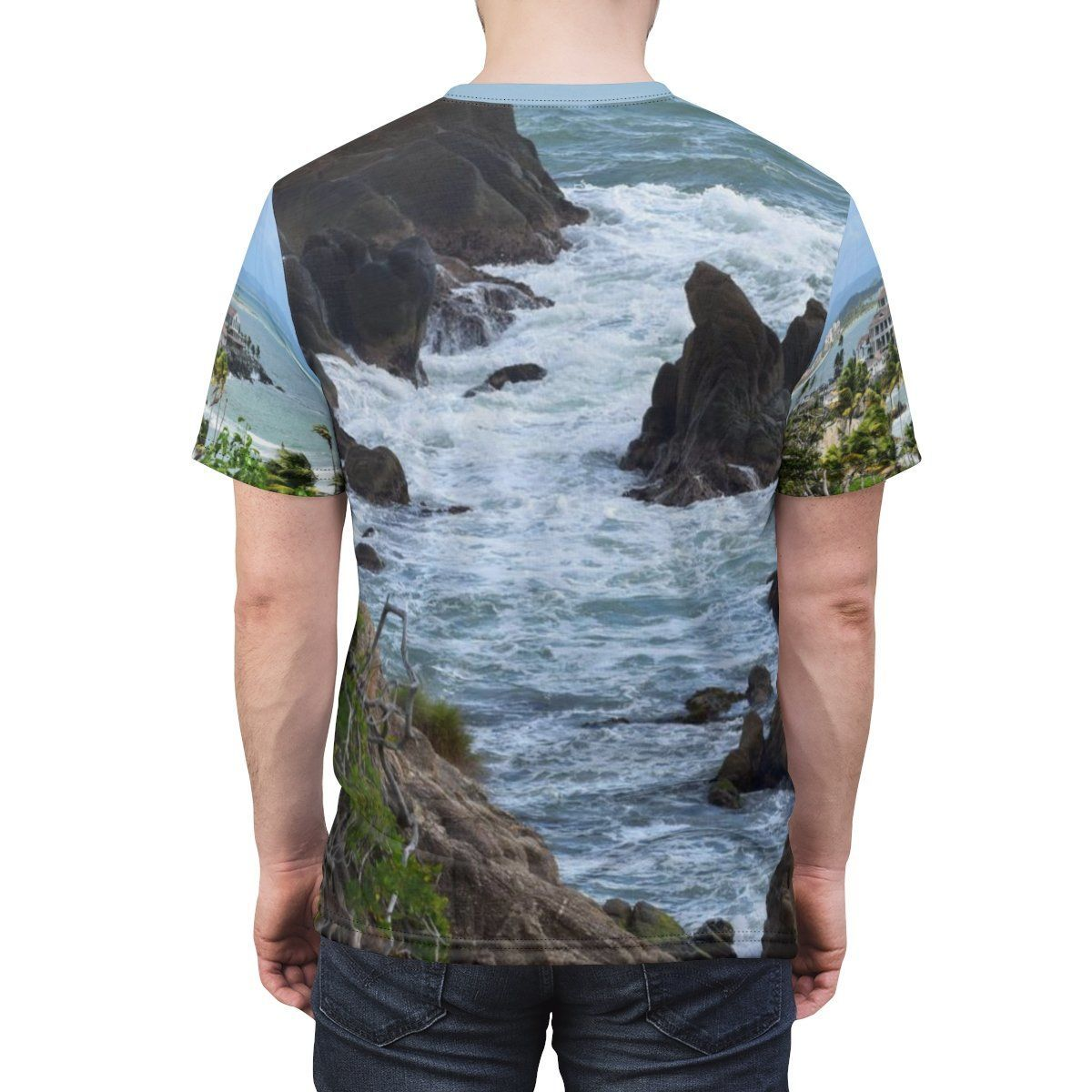 Unisex AOP Cut & Sew Tee - Beach and Coast - Palmas de Mar Housing complex - Puerto Rico All Over Prints Printify