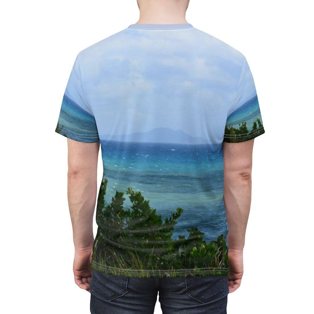 Unisex AOP Cut & Sew Tee - Coast - Palmas de Mar Housing complex - Puerto Rico - The deep sea divide line - Yunque Store