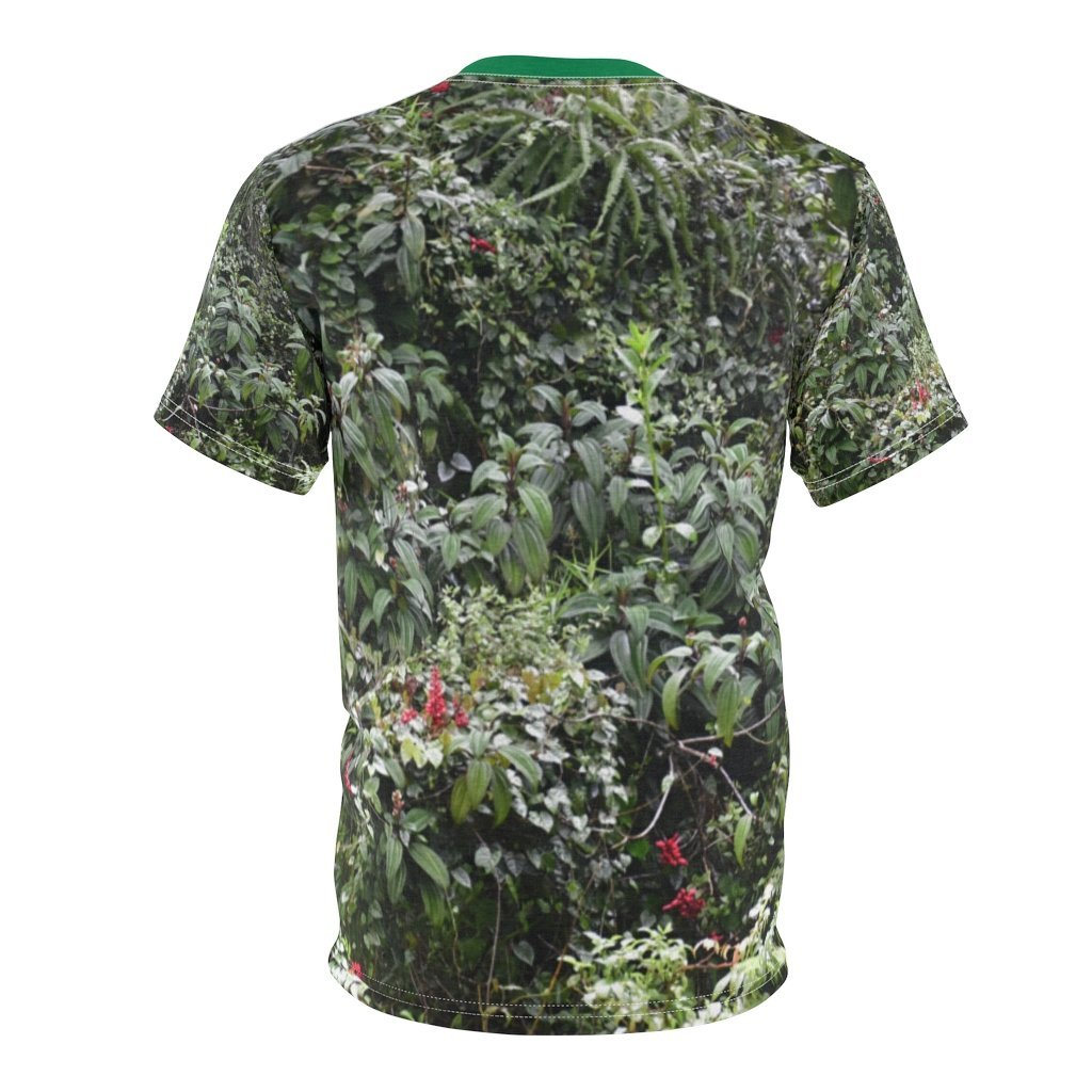 Unisex AOP Cut & Sew Tee - Nature@Me - Spun Polyester Square Pillow - High Mountain Rainforest Dense roadside foliage - Toro Negro rainforest Park Over 4,000 feet altitude - Highest in Puerto Rico - Yunque Store