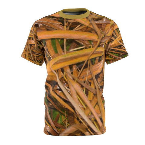 Image of Unisex AOP Cut & Sew Tee - Rio Sabana park - bamboo dry leaves after rain - El Yunque rain forest PR All Over Prints Printify