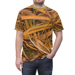 Unisex AOP Cut & Sew Tee - Rio Sabana park - bamboo dry leaves after rain - El Yunque rain forest PR All Over Prints Printify