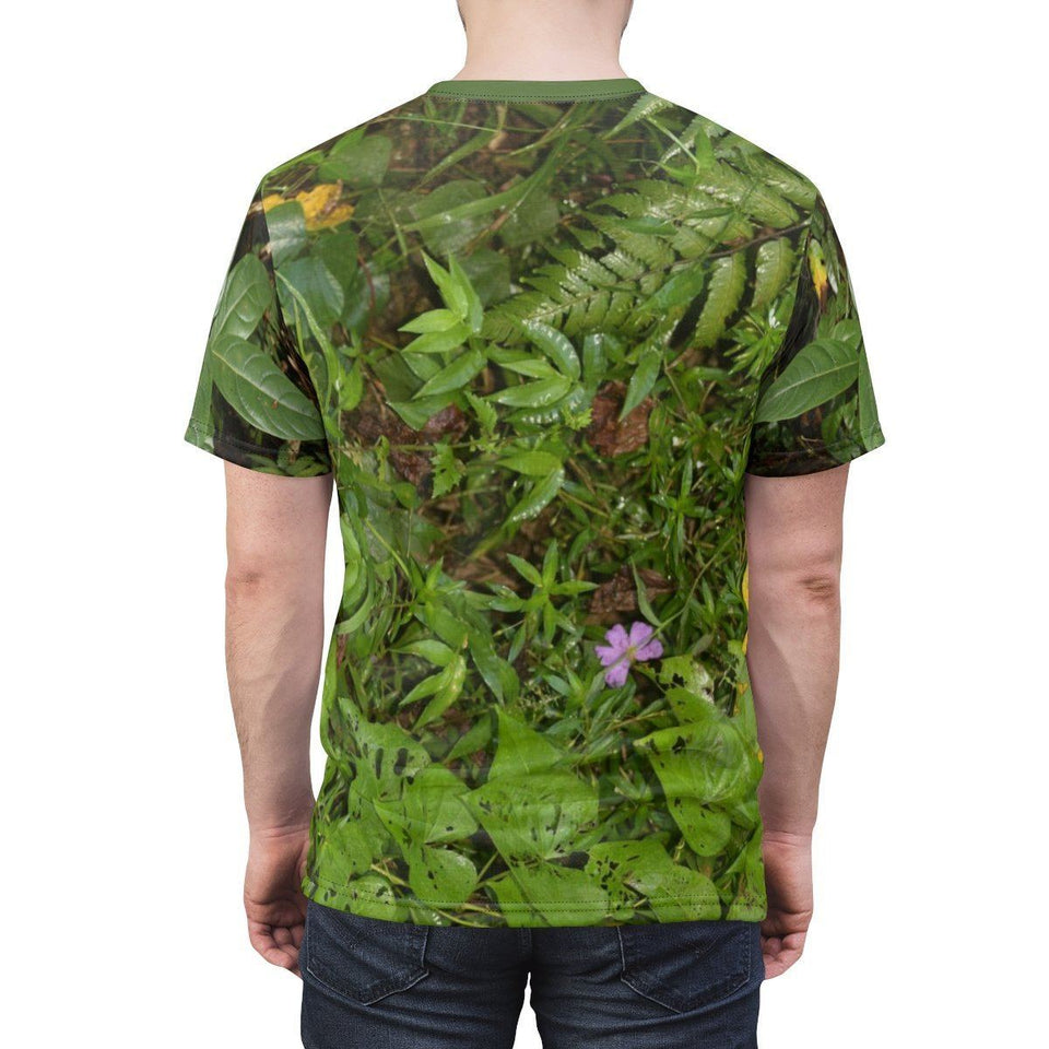 Unisex AOP Cut & Sew Tee - Rio Sabana Park - plant growth on closed PR 191 road - El Yunque PR All Over Prints Printify