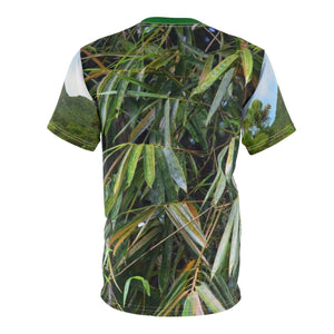 Unisex AOP Cut & Sew Tee- The dog Firo explores in El Yunque rain forest - Rio Sabana Park landslide - PR All Over Prints Printify