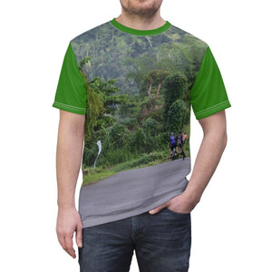 Unisex AOP Cut & Sew Tee- Three brave bikers to Rio Sabana Park PR 191 - El Yunque rain forest PR All Over Prints Printify