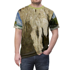 Unisex AOP Cut & Sew Tee - UNIQUE Mona island caves in limestone cliff - Island of Puerto Rico All Over Prints Printify