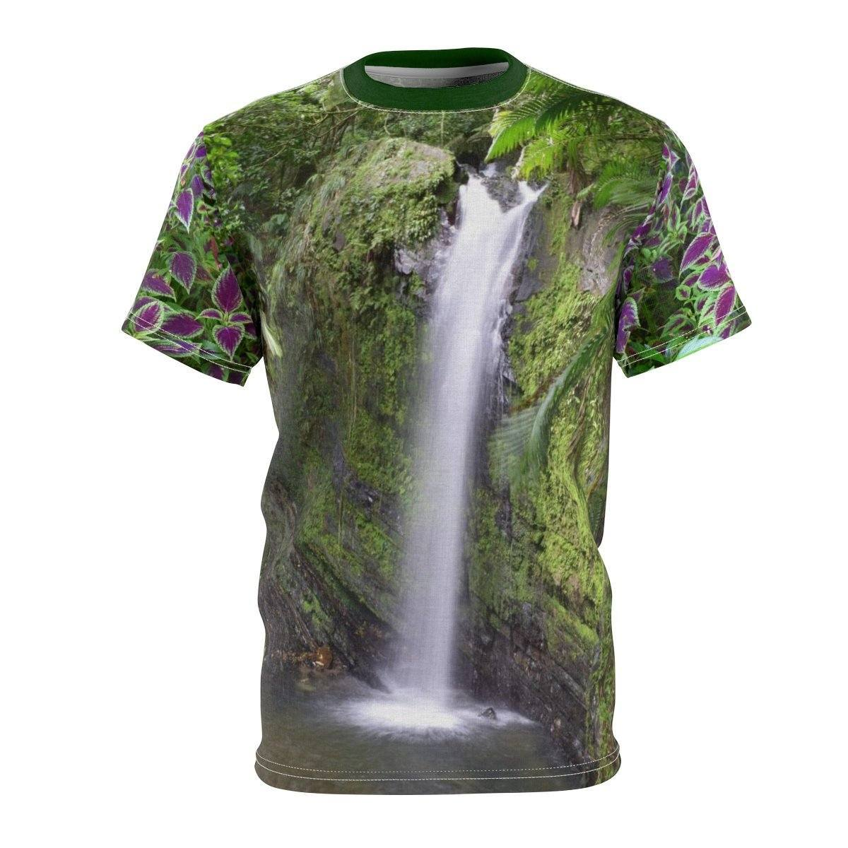 Unisex AOP Cut & Sew Tee - Waterfalls of El Yunque rain forest/Cataratas de El Yunque PR All Over Prints Printify