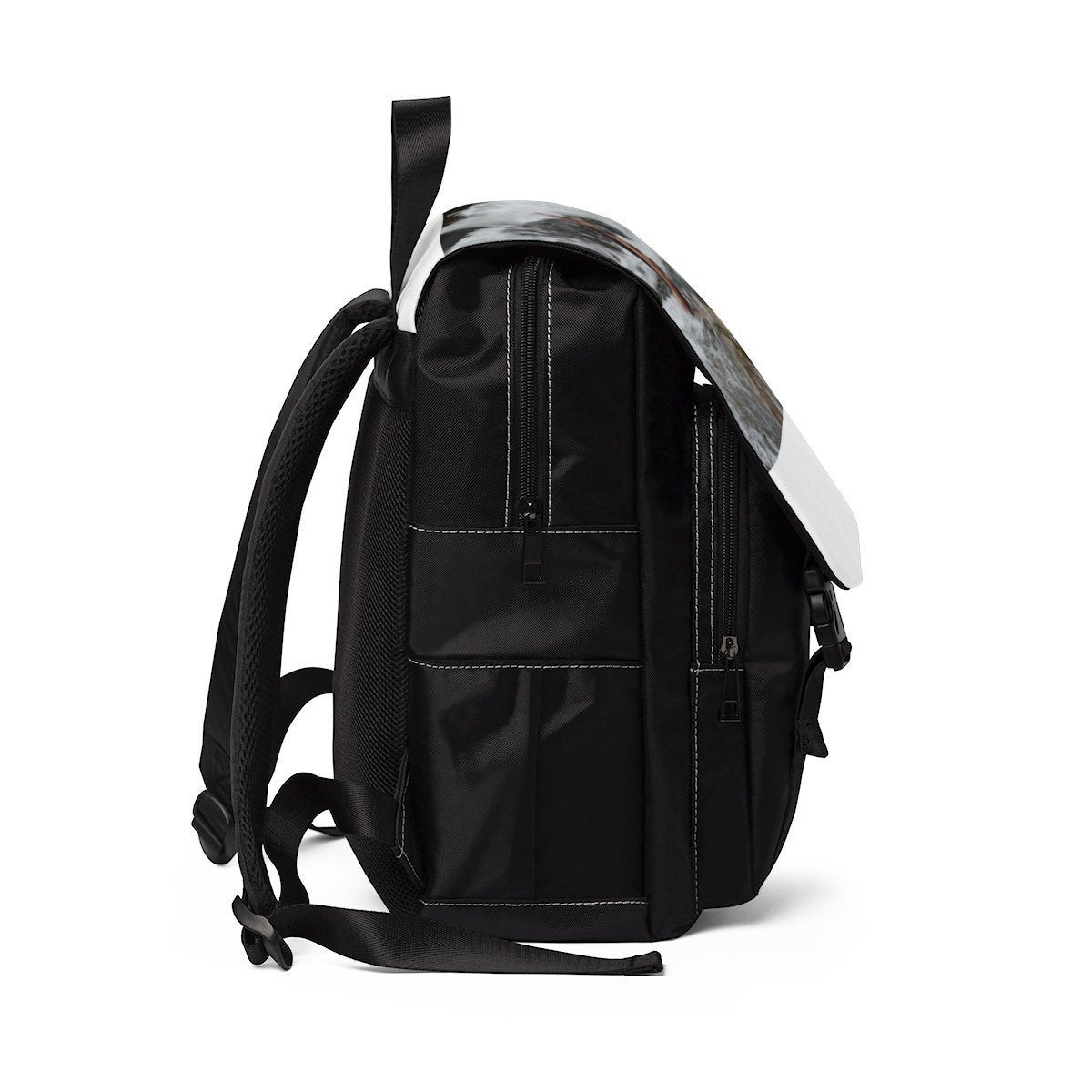 Unisex Casual Shoulder Backpack - Gaby on the Mameyes river - El Yunque rain forest PR Bags Printify