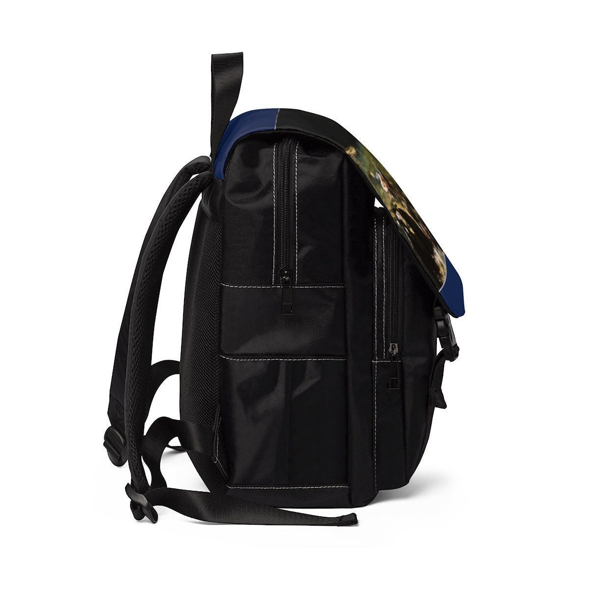 Unisex Casual Shoulder Backpack - Jose resting in pond after long hike - EYNF Bags Printify