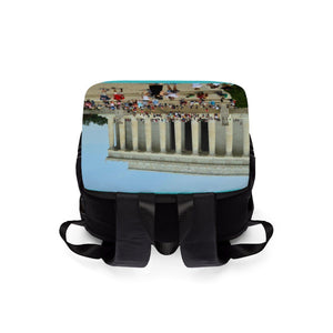 Unisex Casual Shoulder Backpack - The Lincoln Memorial in WA DC - in honor of the president who saved the Union. Bags Printify