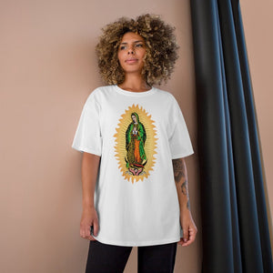 UNISEX Champion T-Shirt - 100% COTTON - Our Lady Virgin of Guadalupe - Miracle apparition of Virgin Mary in 1531 to a humble peasant Indian in Mexico - Yunque Store