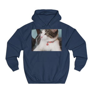 Unisex College Hoodie - The cat Dante in two moods - BY OPT OnDemand - Fulfilled in Czech Republic - Yunque Store