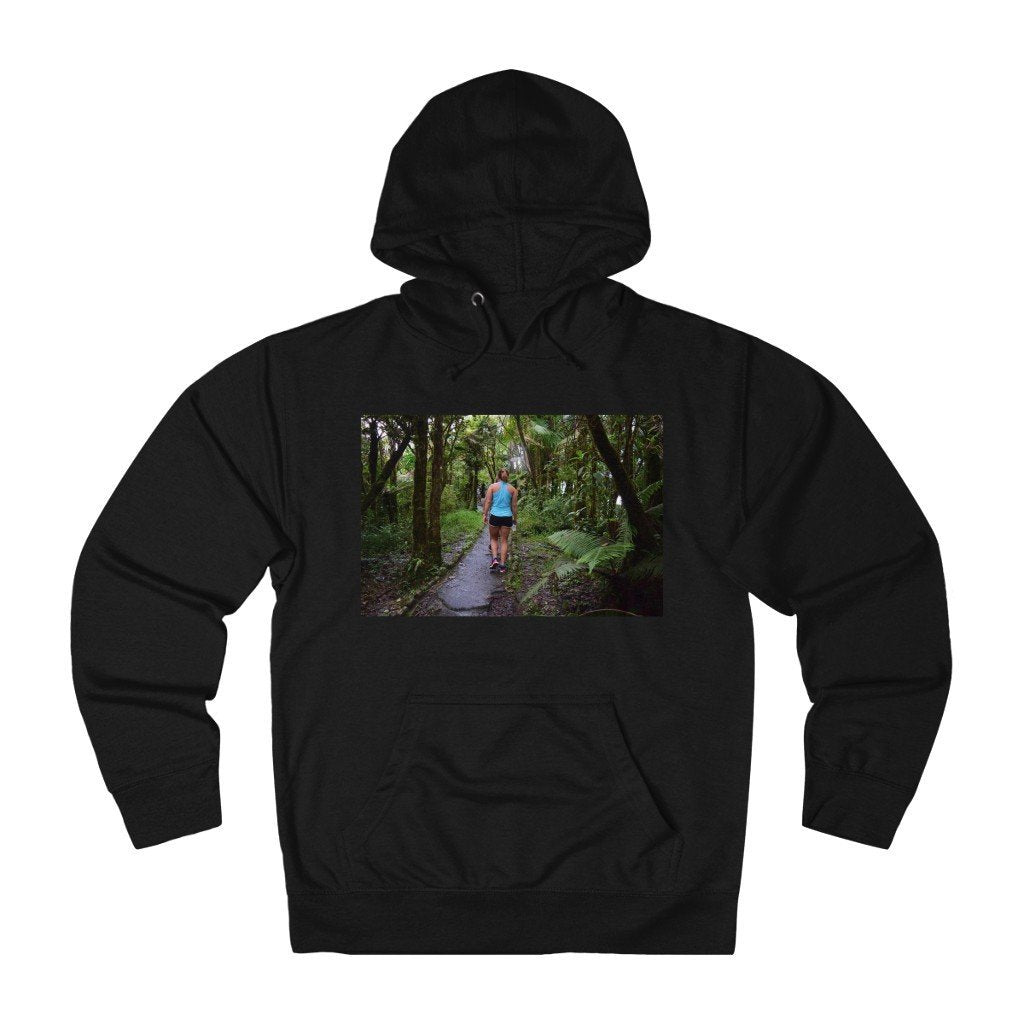 Unisex French Terry Hoodie - EYNF - Hiking up El Yunque Trail and bromeliads on back - Yunque Store
