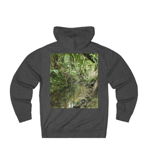 Unisex French Terry Hoodie - EYNF - Hiking up El Yunque Trail and La Mina river on back Hoodie Printify