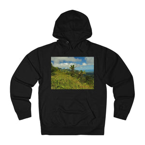 Unisex French Terry Hoodie - EYNF View at 2,000 feet from East peak of PR road and forest tropical flower on back - Yunque Store